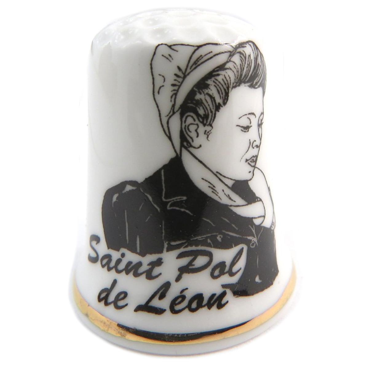 Dé à coudre porcelaine \'Coiffes de Bretagne\' noir blanc (St Pol de Léon) - 27x23 mm - [Q9785]