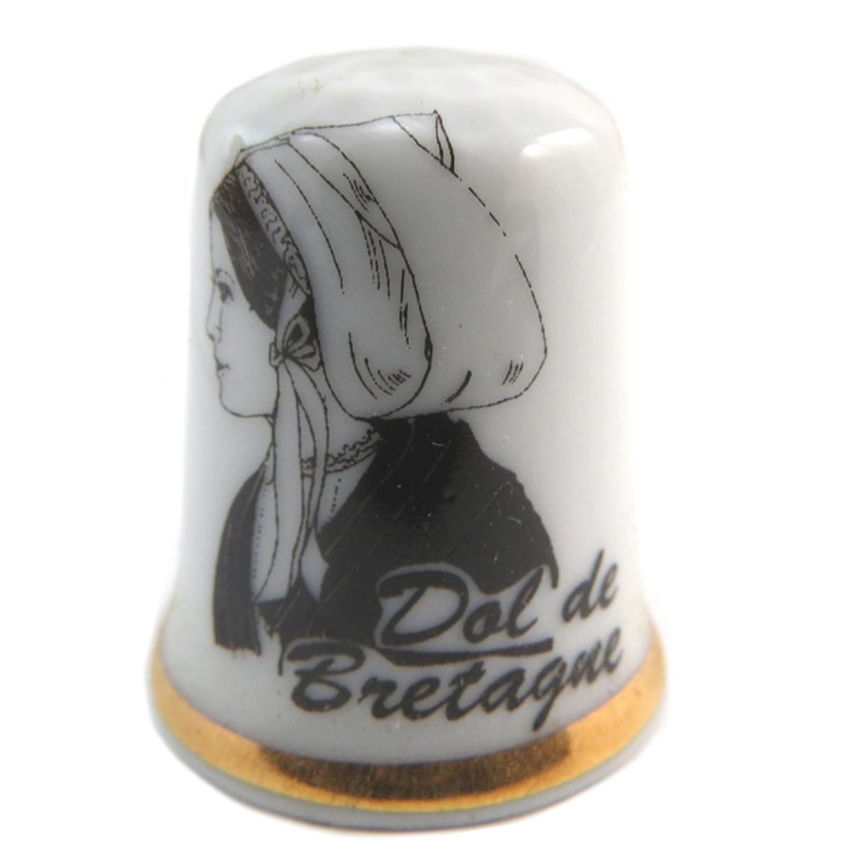 Dé à coudre porcelaine \'Coiffes de Bretagne\' noir blanc (Dol de Bretagne) - 27x23 mm - [Q9786]