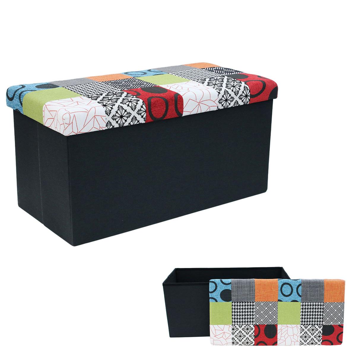 Coffre Banc de rangement \'Patchwork\' multicolore - 76x38x38 cm - [R0291]