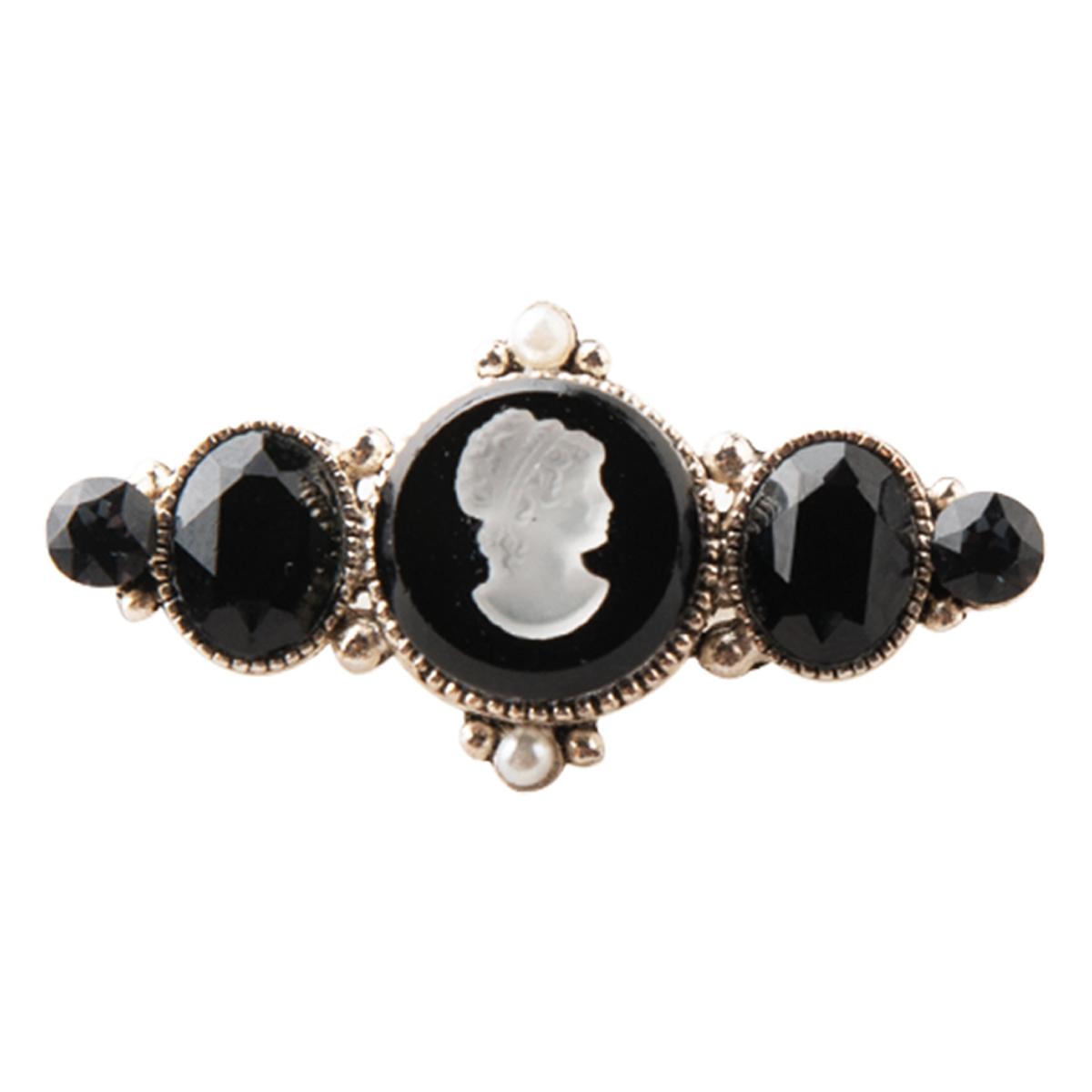 Broche artisanale \'Divine Camee\' noir blanc argenté - 35x18 mm - [R0399]