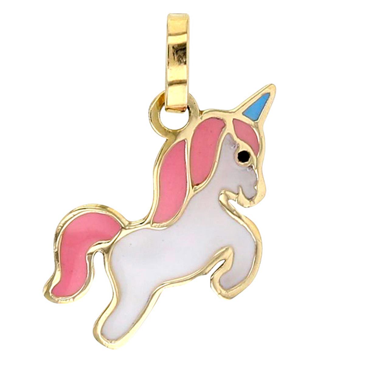 Pendentif \'Licorne My Unicorn\' rose blanc doré (Or - 9 carats)  - 16x10 mm - [R0408]