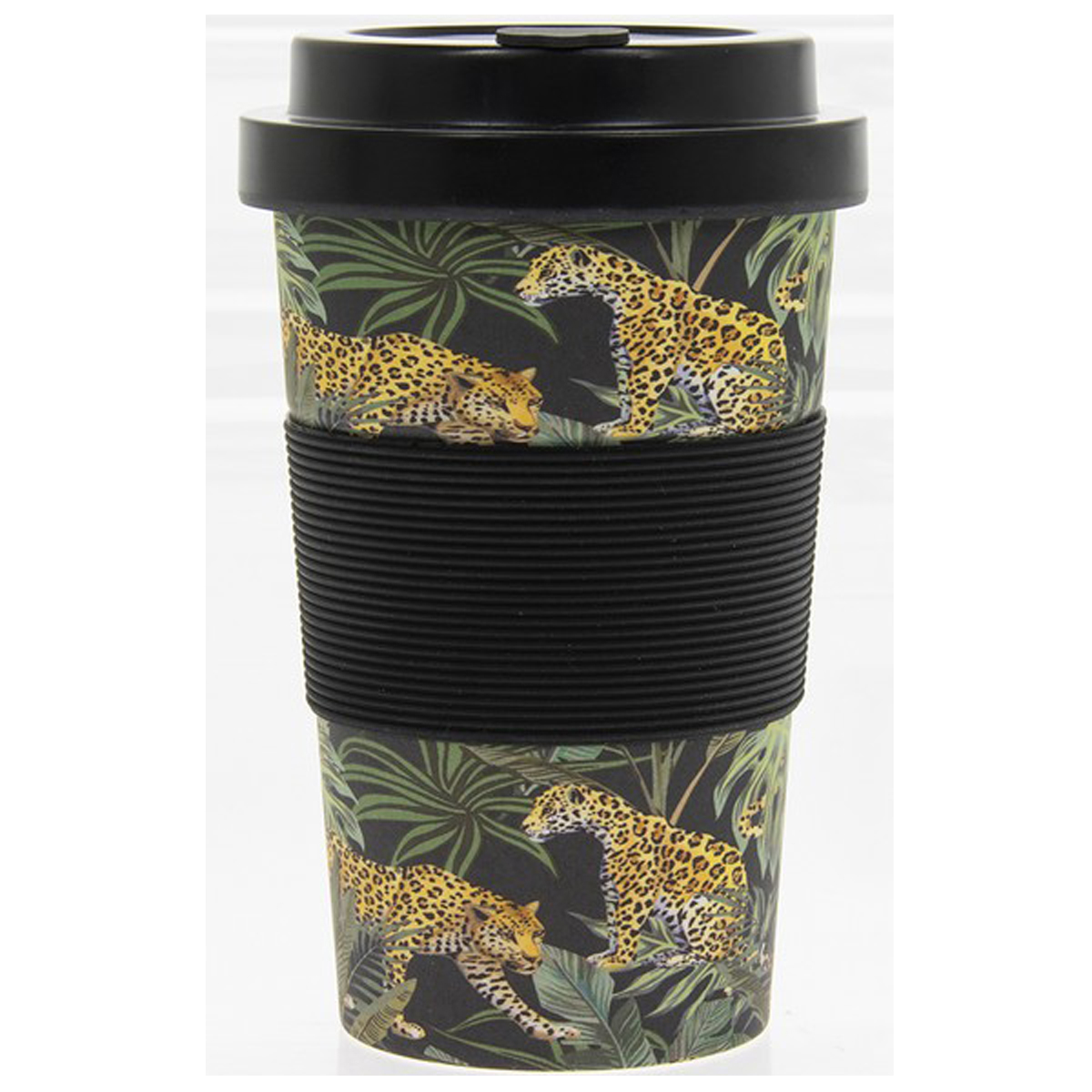 Mug de transport bambou \'Jungle Fever\' marron vert noir - 125x8 cm (350 ml) - [R0619]