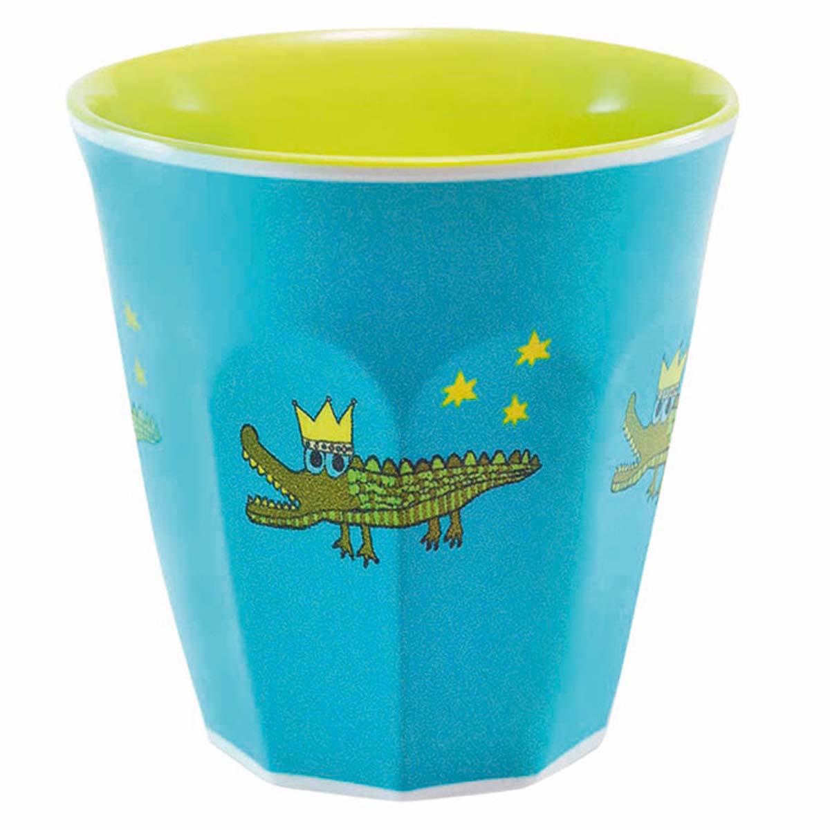 Gobelet mélamine \'Saperlipopette\' bleu vert (crocodile) - 75x75 cm - [R0622]