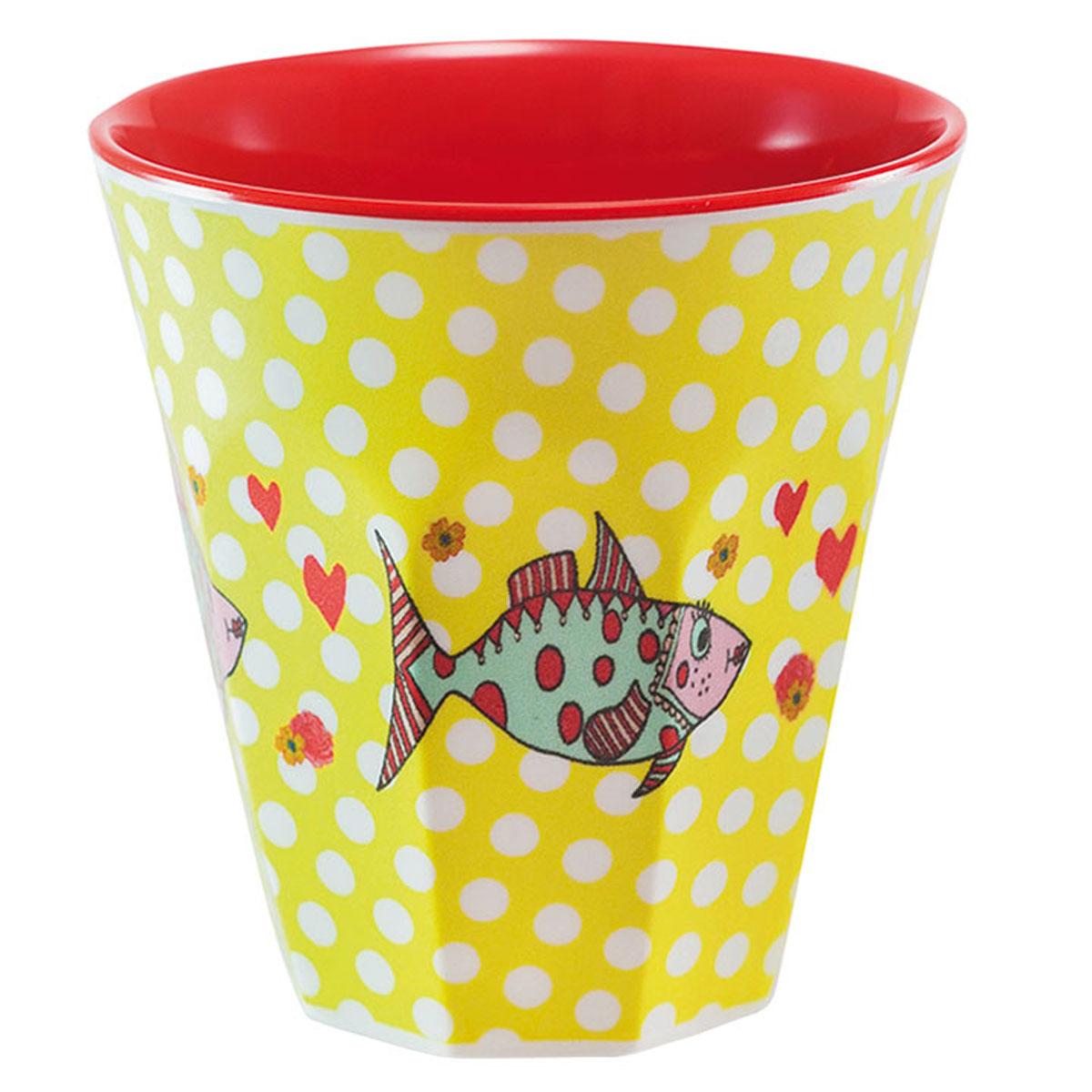 Gobelet mélamine \'Saperlipopette\' jaune rouge (Mrs Fish) - 75x75 cm - [R0625]