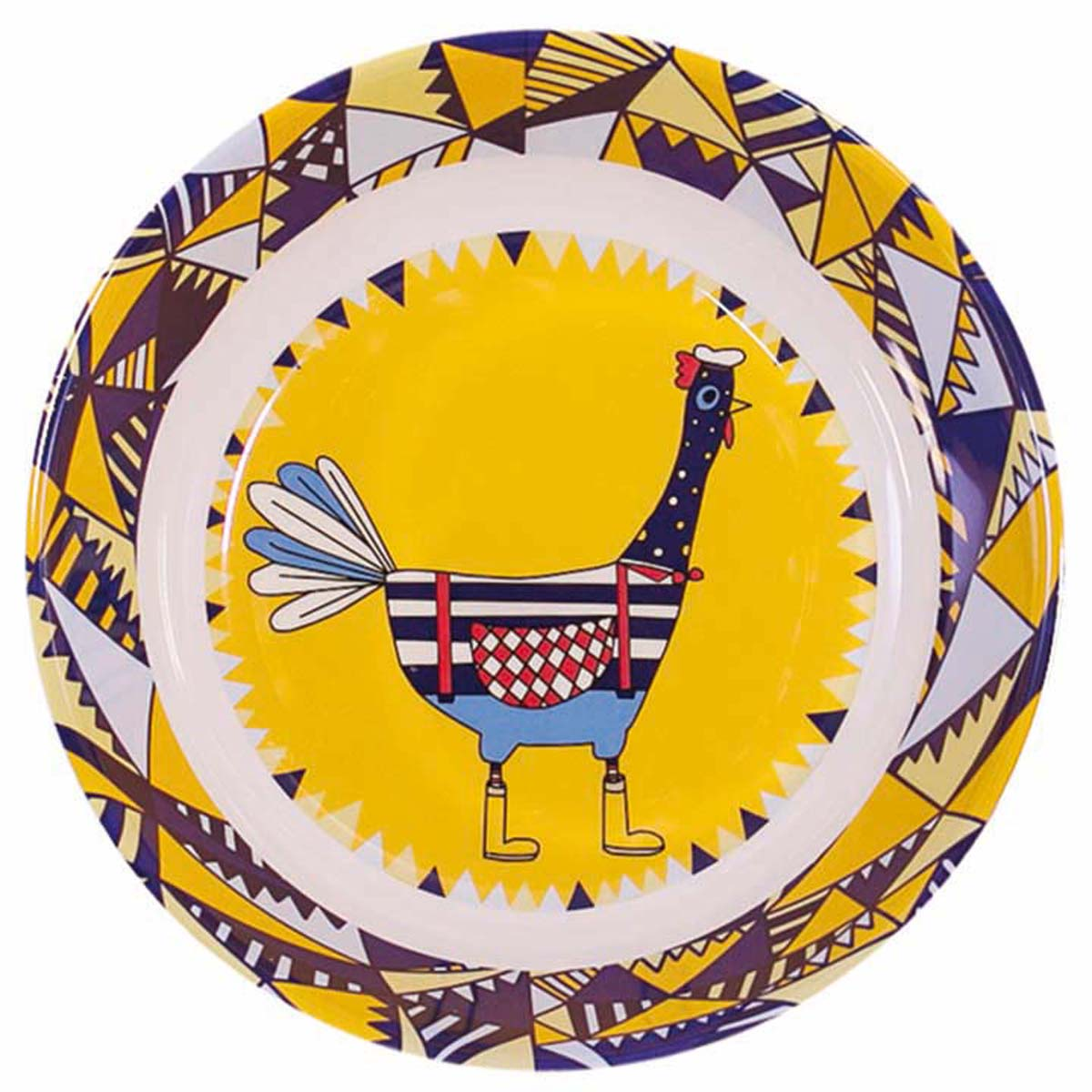 Assiette creuse mélamine \'Saperlipopette\' jaune bleu (Albert) - 19x5 cm - [R0630]