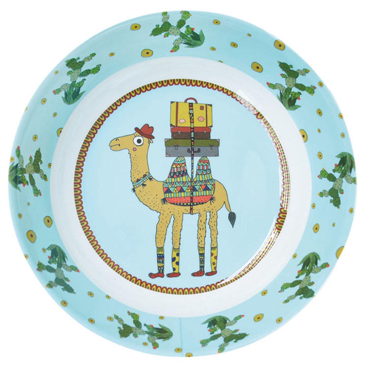 Assiette creuse mélamine \'Saperlipopette\' bleu vert (chameau Joe) - 19x5 cm - [R0633]