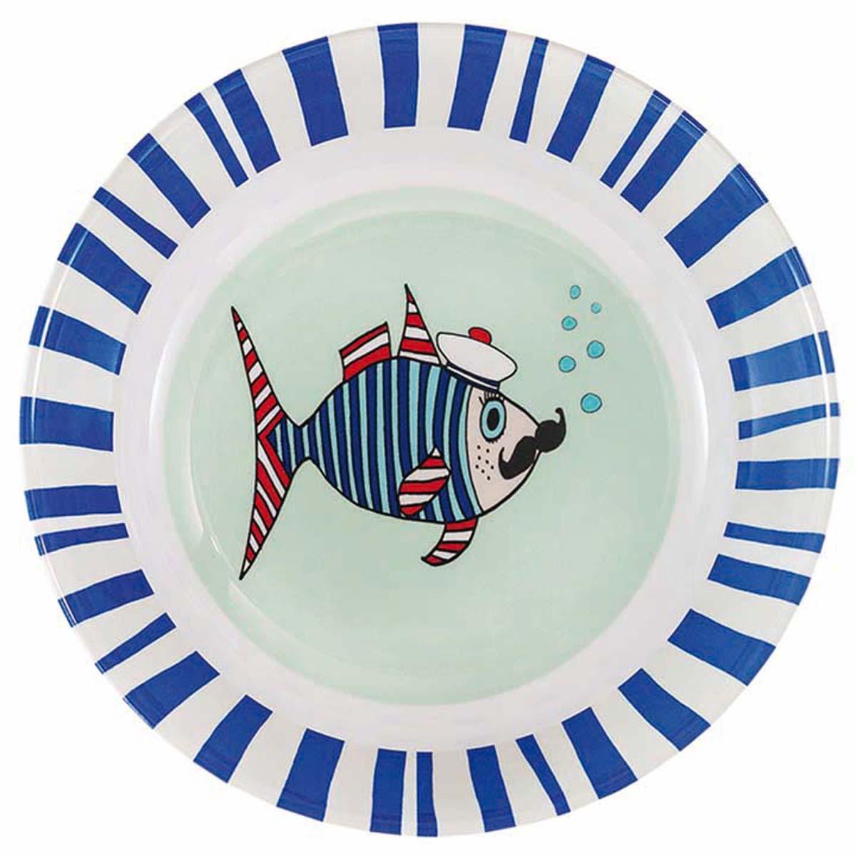 Assiette creuse mélamine \'Saperlipopette\' bleu (Mr Fish) - 19x5 cm - [R0634]