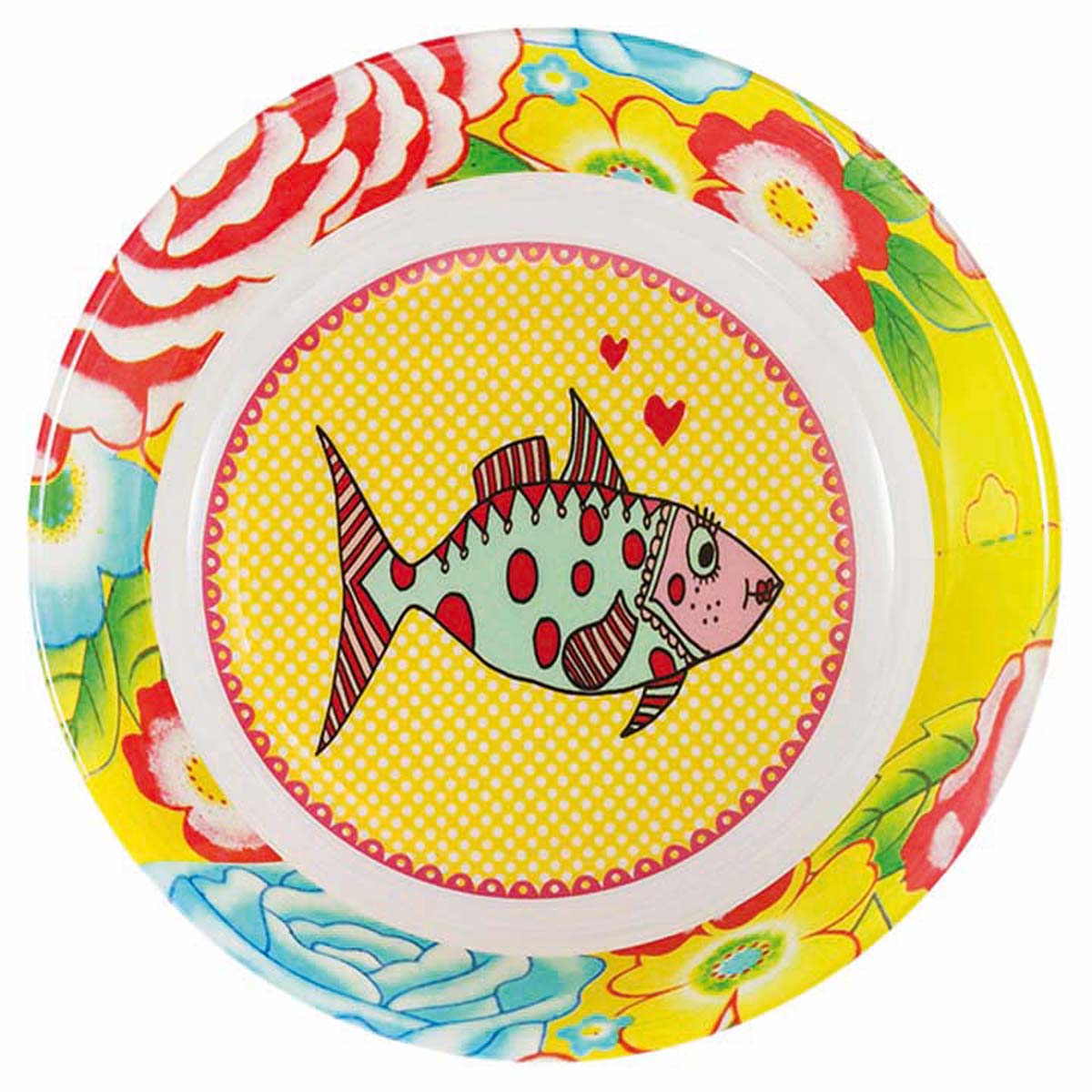 Assiette creuse mélamine \'Saperlipopette\' jaune multicolore (Mrs Fish) - 19x5 cm - [R0635]