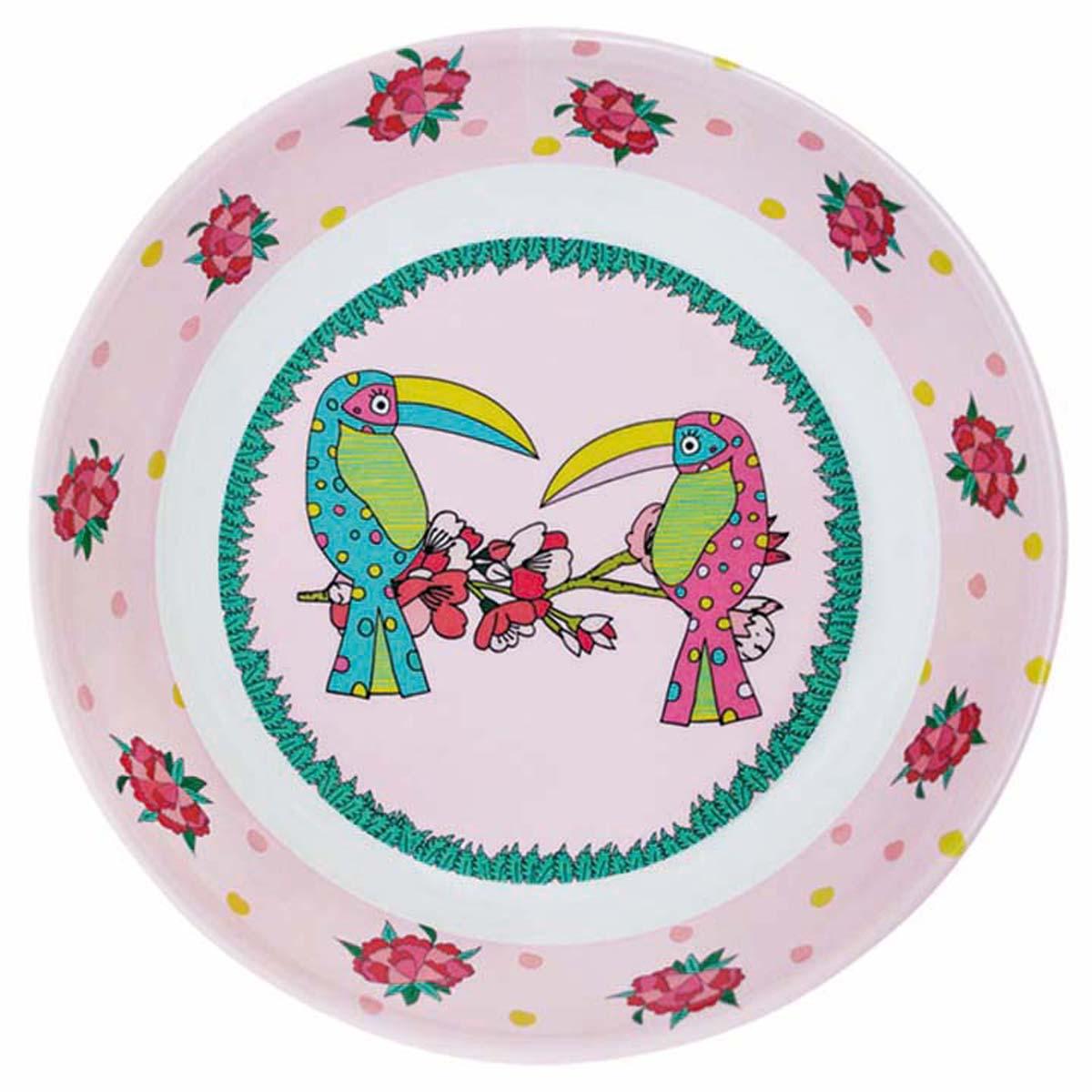 Assiette creuse mélamine \'Saperlipopette\' rose (Toucan) - 19x5 cm - [R0637]