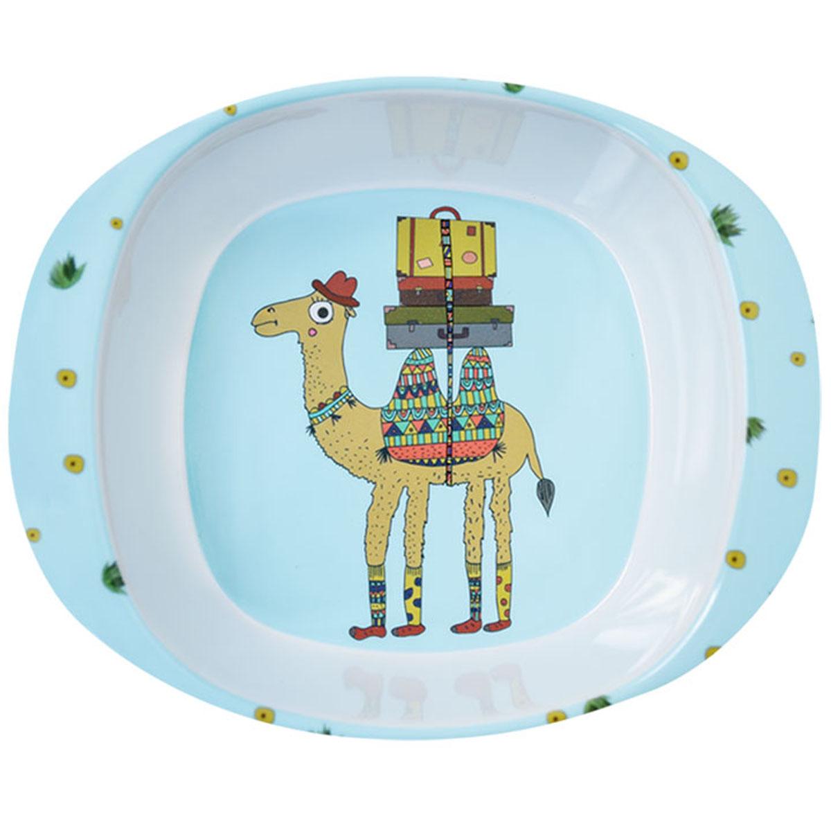 Assiette bébé mélamine \'Saperlipopette\' bleu (chameau Joe) - 165x135x42 cm - [R0642]