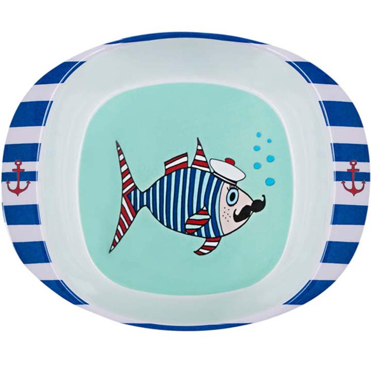 Assiette bébé mélamine \'Saperlipopette\' bleu (Mr Fish) - 165x135x42 cm - [R0643]