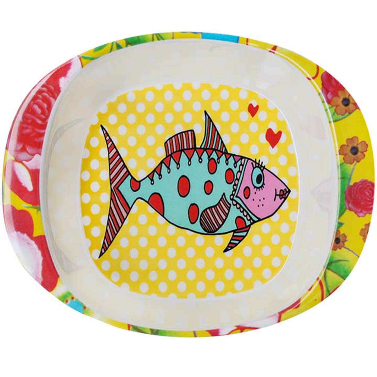 Assiette bébé mélamine \'Saperlipopette\' jaune multicolore (Mrs Fish) - 165x135x42 cm - [R0644]