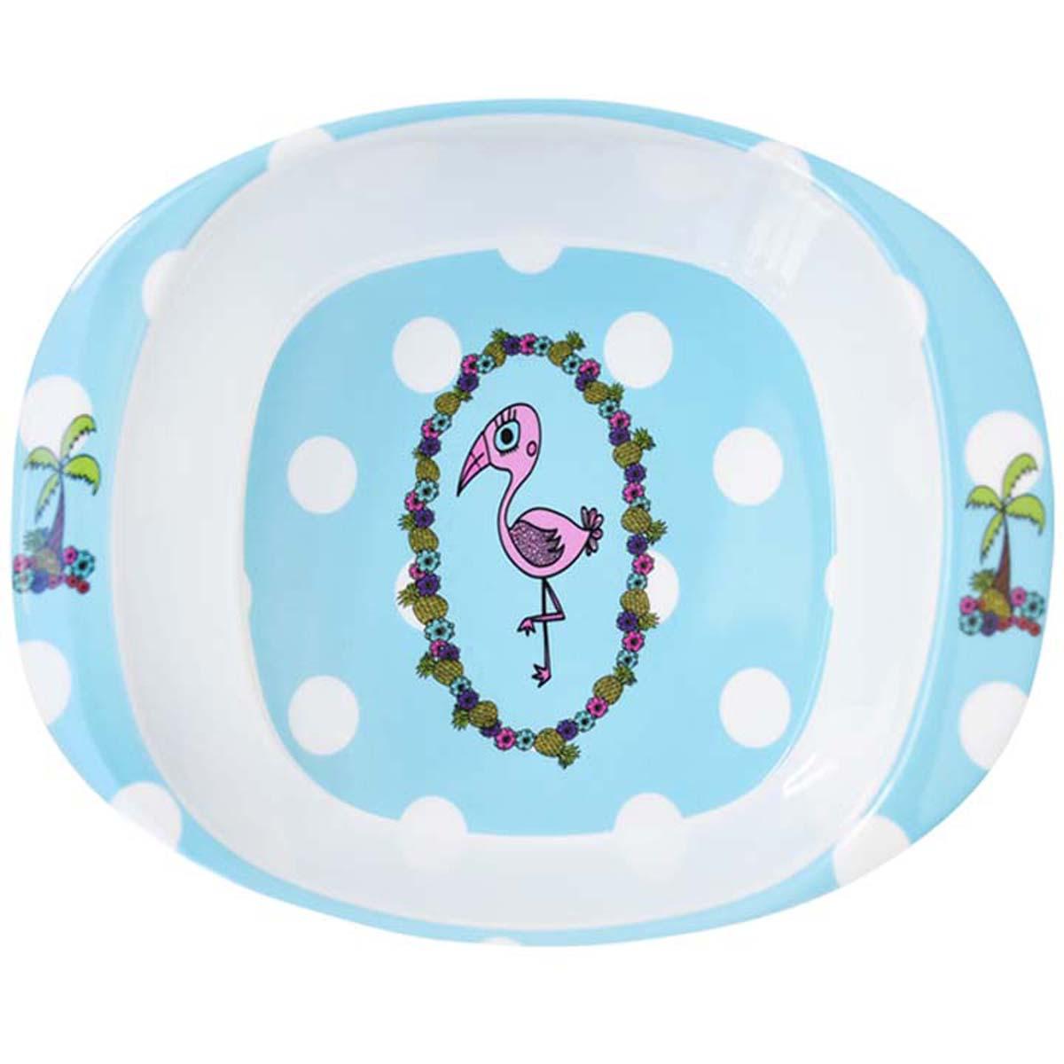 Assiette bébé mélamine \'Saperlipopette\' bleu (flamant rose) - 165x135x42 cm - [R0645]