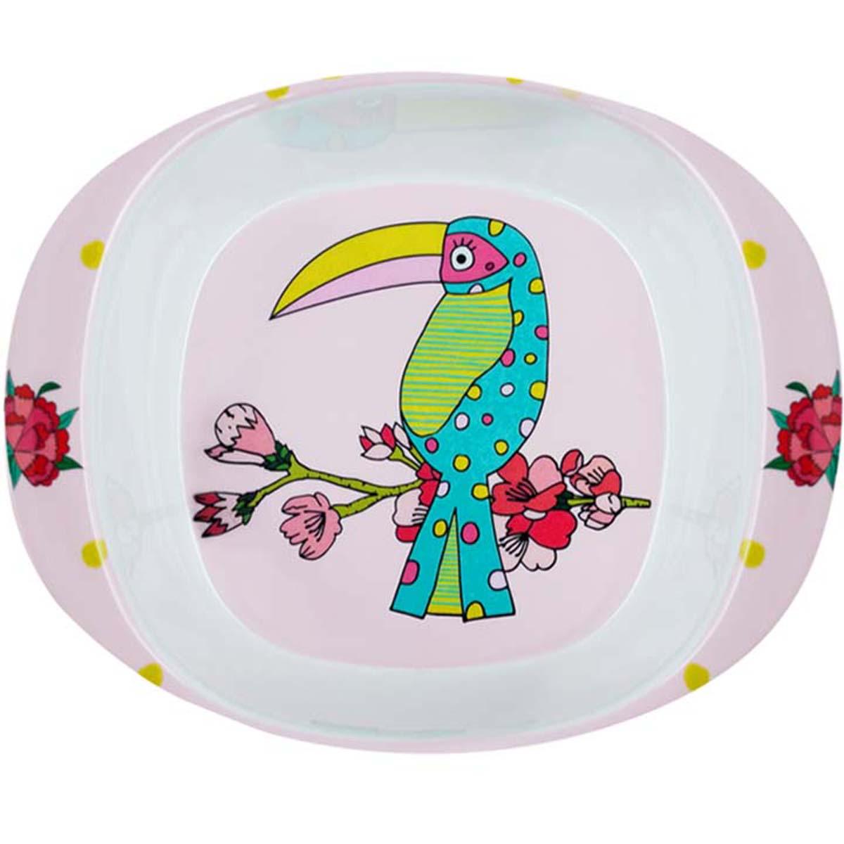 Assiette bébé mélamine \'Saperlipopette\' rose vert (toucan) - 165x135x42 cm - [R0646]