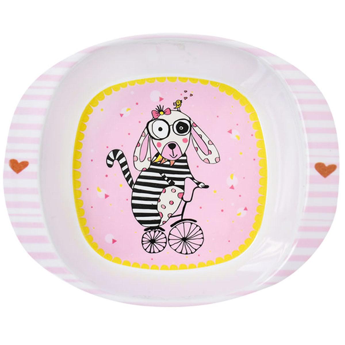 Assiette bébé mélamine \'Saperlipopette\' rose (chien Vivienne) - 165x135x42 cm - [R0647]