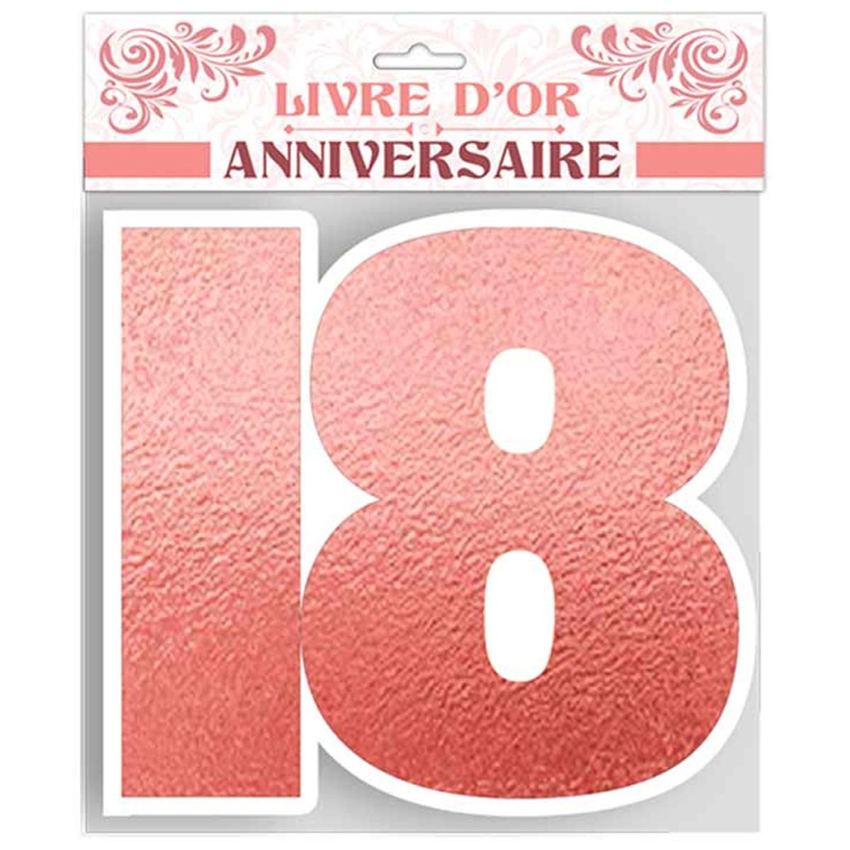 Livre d\'or \'18 ans\' rosé blanc - 25x28 cm - [R1494]