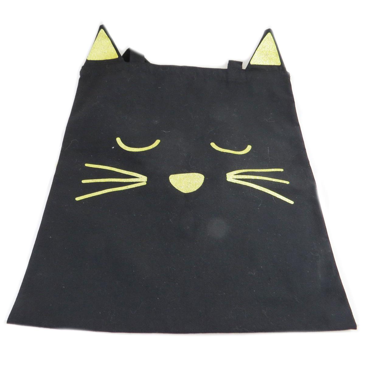 Tote bag \'Chats\' noir doré -  42x36 cm - [R1802]