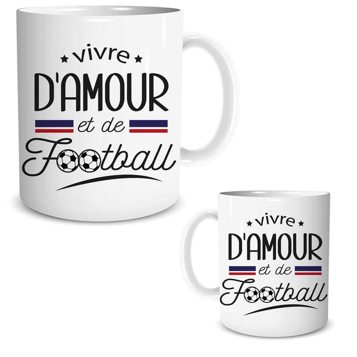 Mug céramique \'Messages\' (Vivre d\'Amour et de Football) - 95x80 mm - [R1868]