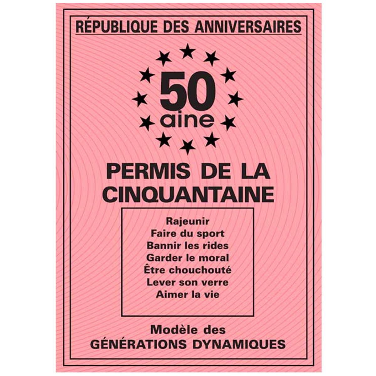 Carte spéciale \'Permis de la cinquantaine\' 50 ans - 205x145 cm - [R2163]
