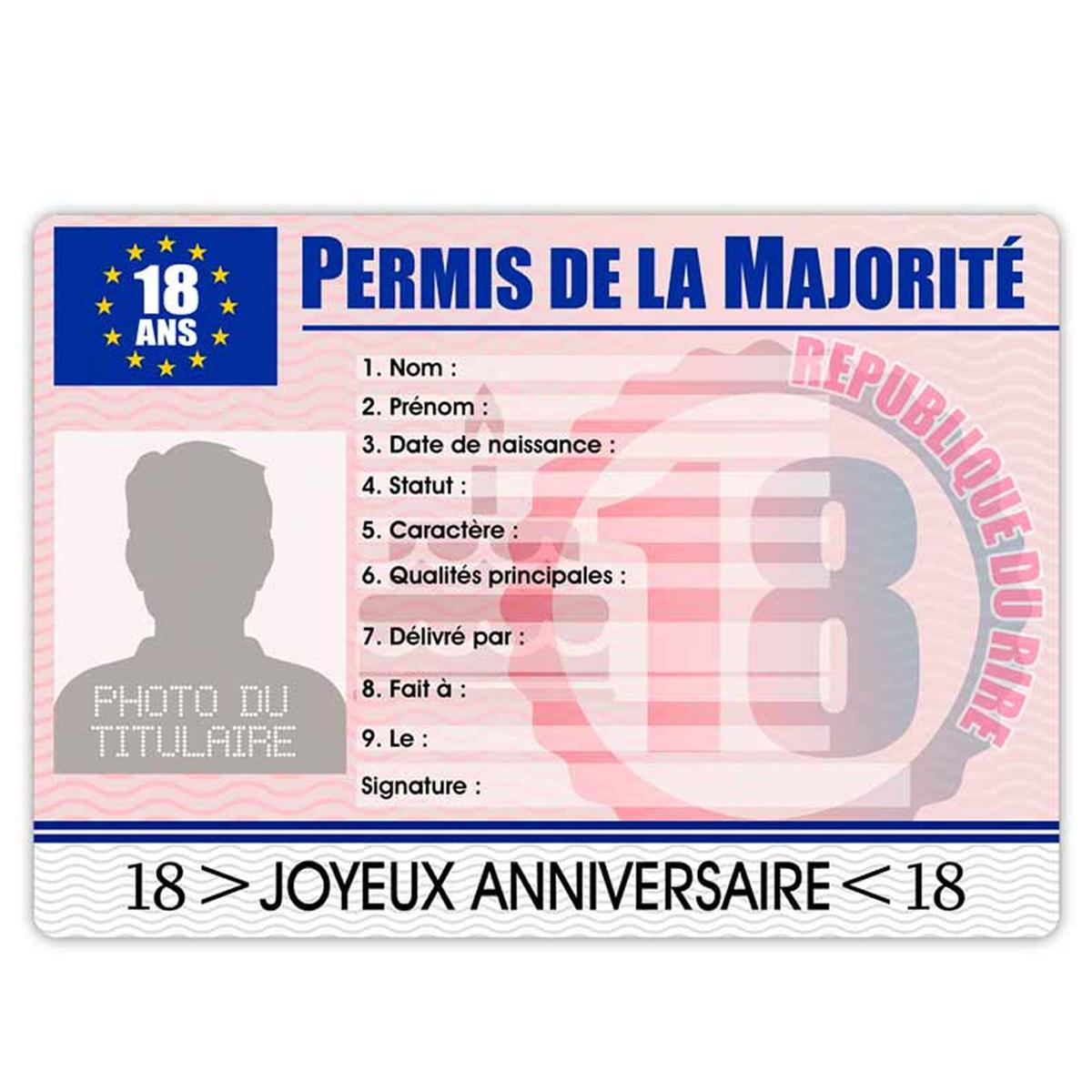 Carte permis européen \'Permis de la majorité\' 18 ans (homme) - 22x155 cm - [R2169]