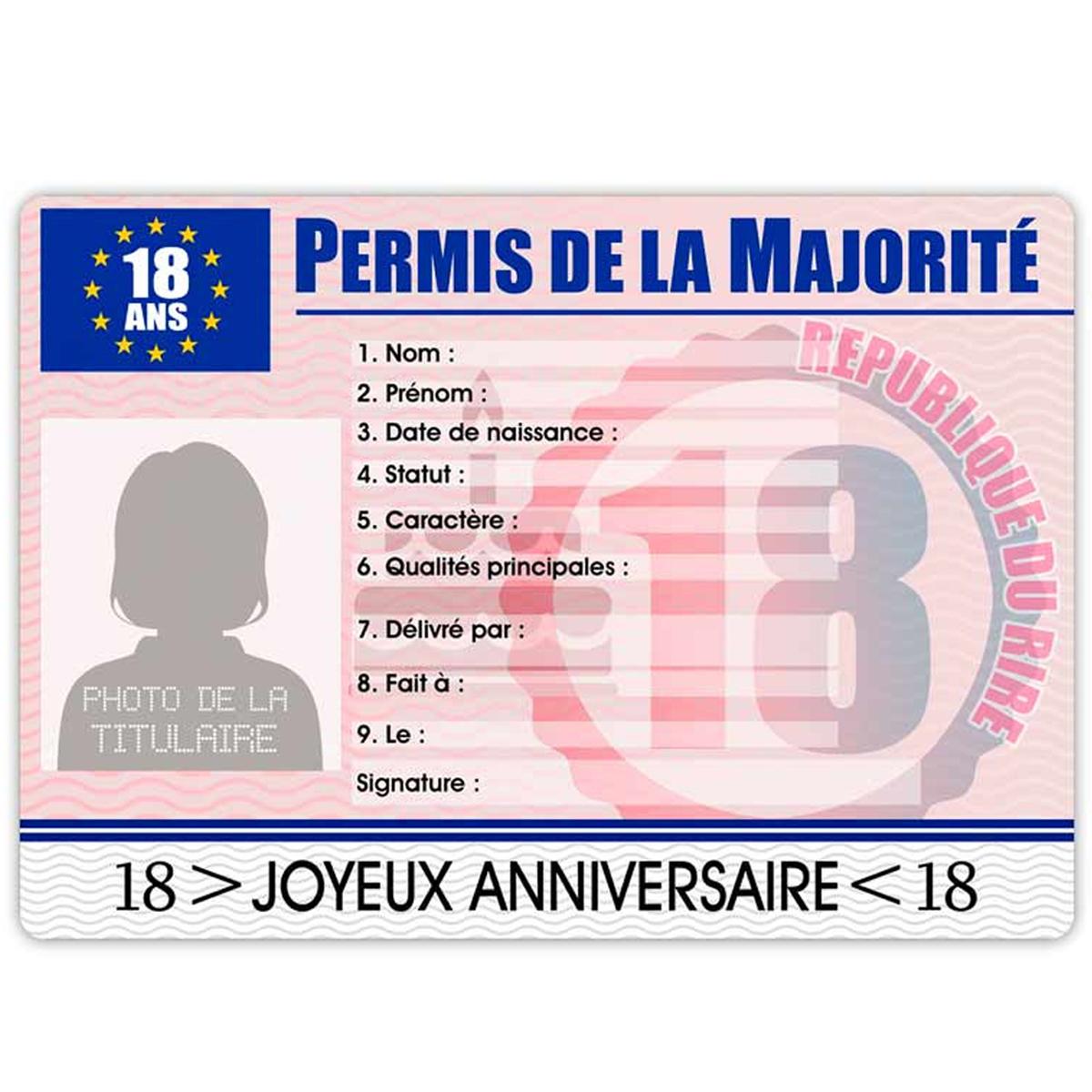 Carte permis européen \'Permis de la majorité\' 18 ans (femme) - 22x155 cm - [R2170]