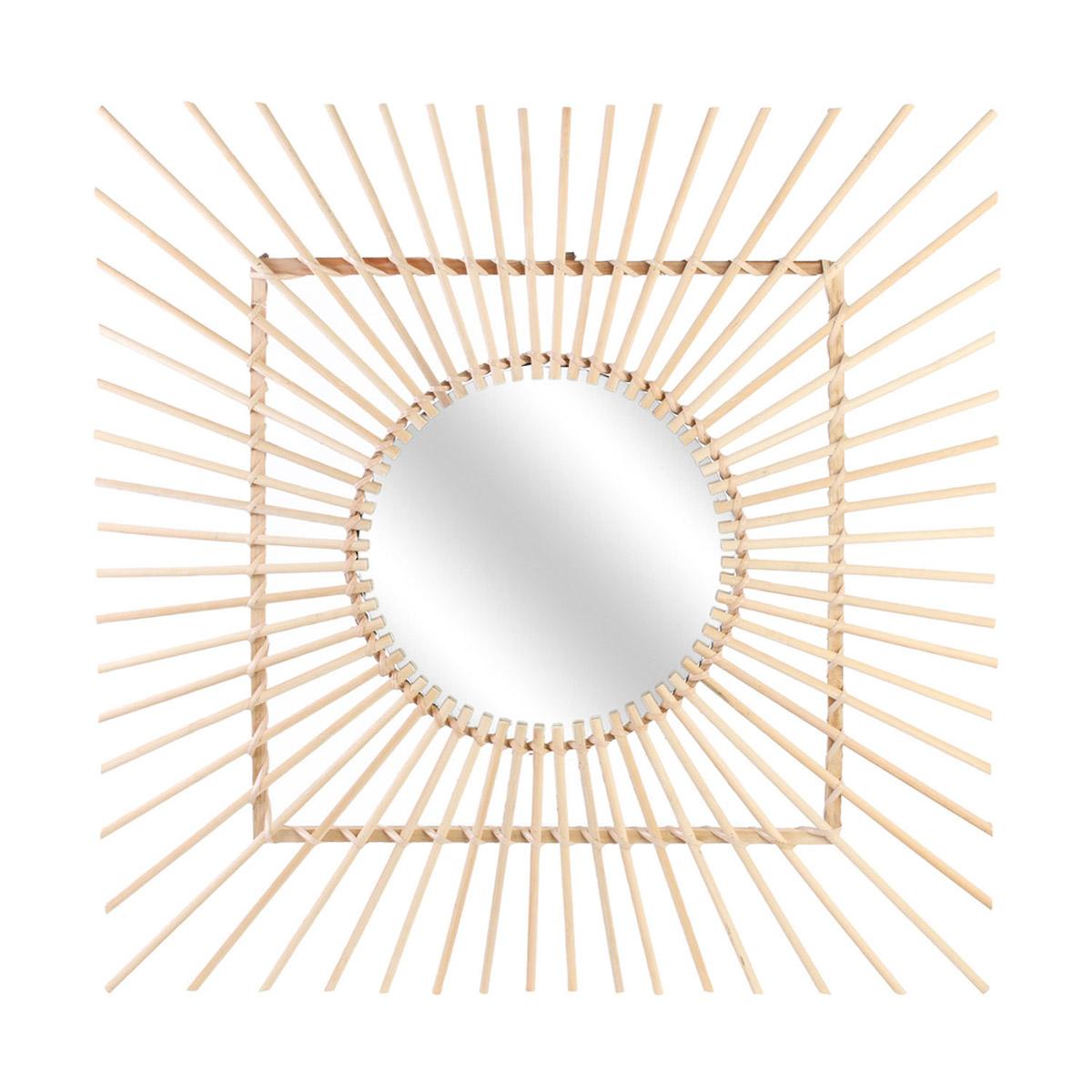 Miroir rotin \'Soleil\' beige - 50 cm - [R2356]