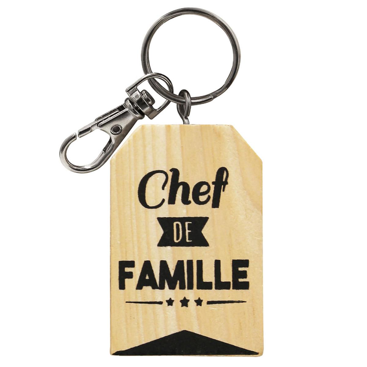 Porte-clés bois \'Famille\' beige (Chef de Famille) - 6x4 cm - [R2366]