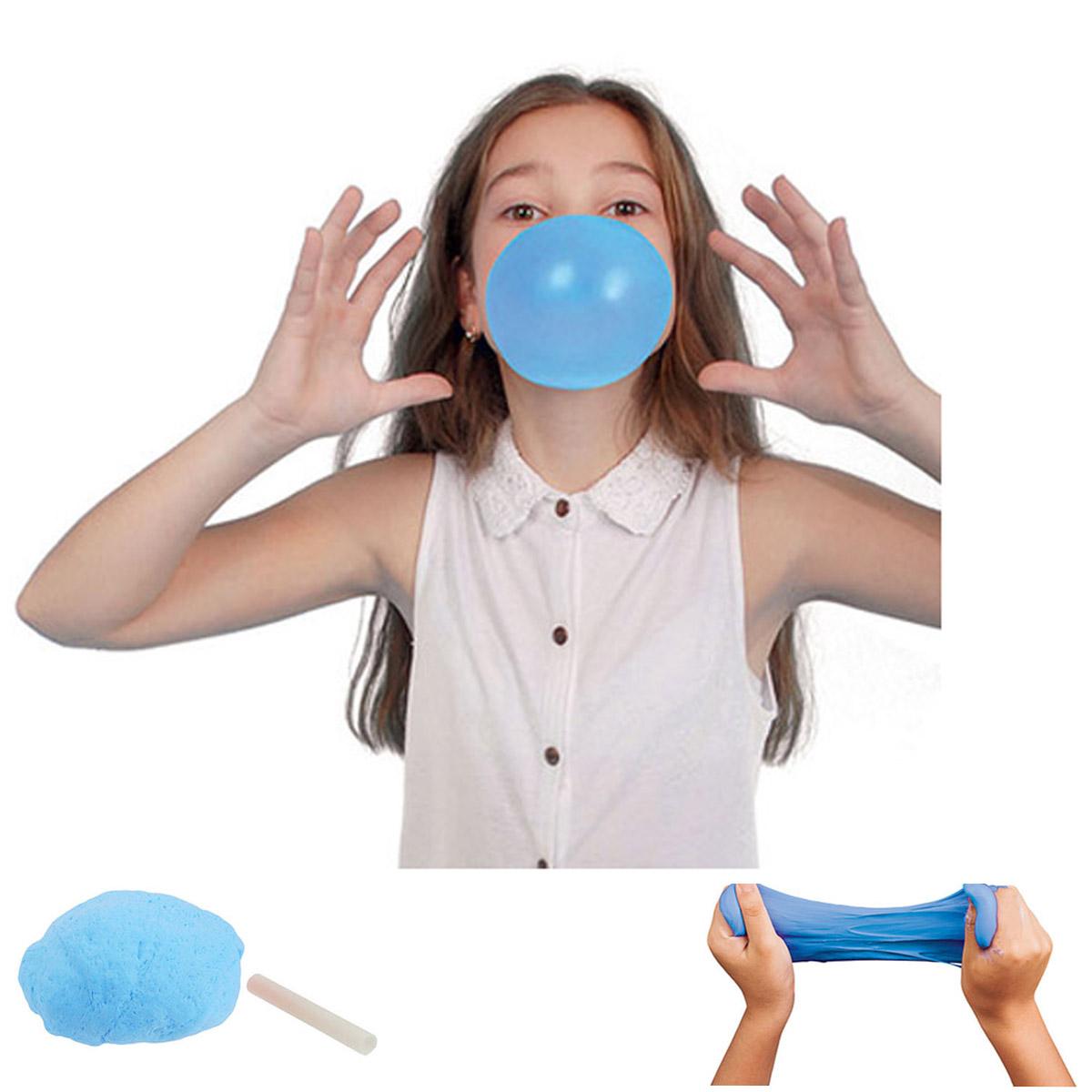 Pate gluante et extensible \'Slime\' bleu mat (avec paille) - 150g - [R2370]