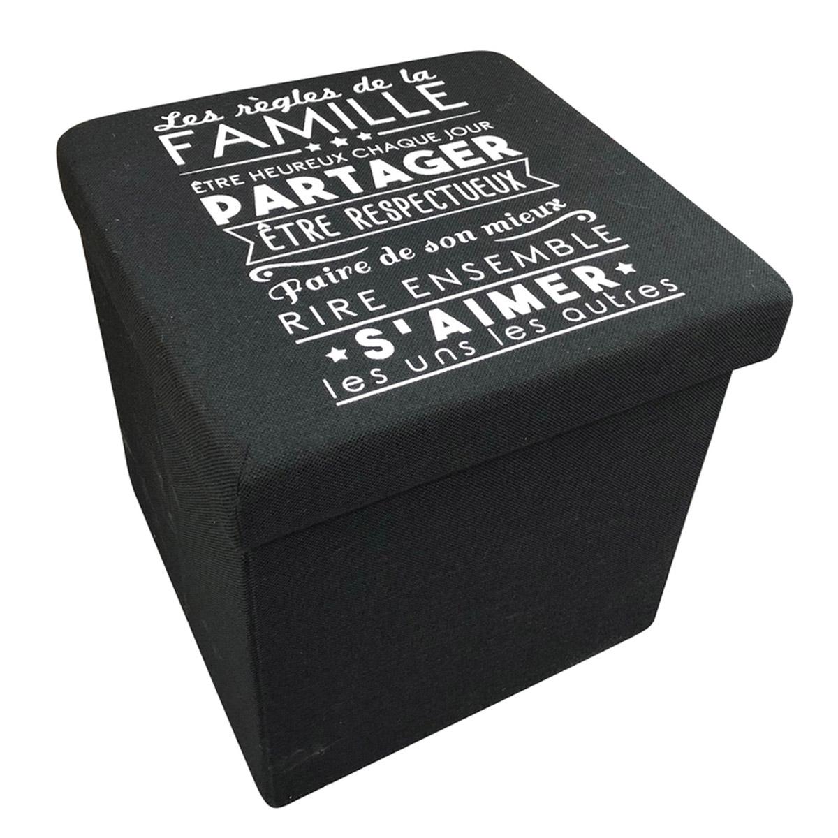 Coffre Pouf de rangement \'Messages\' noir (les règles de la Famille) - 38x38x38 cm - [R2389]