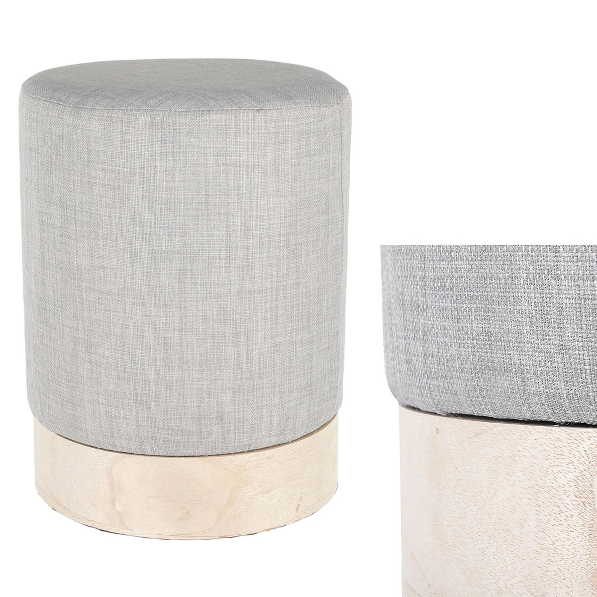 Pouf design \'Boho\' gris doré - 40x30 cm - [R2392]