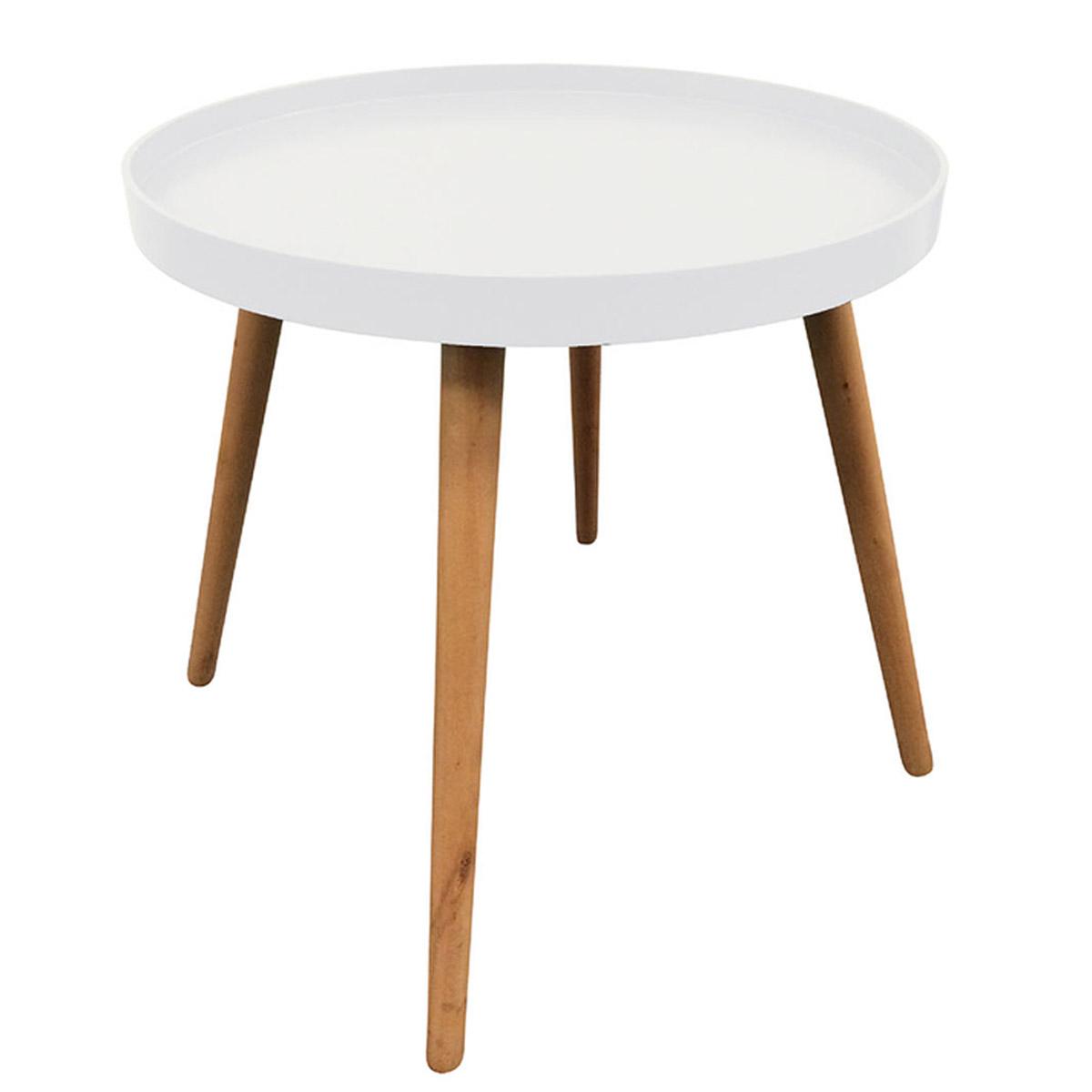 Table ronde bois \'Boho\' blanc - 50x44 cm - [R2394]