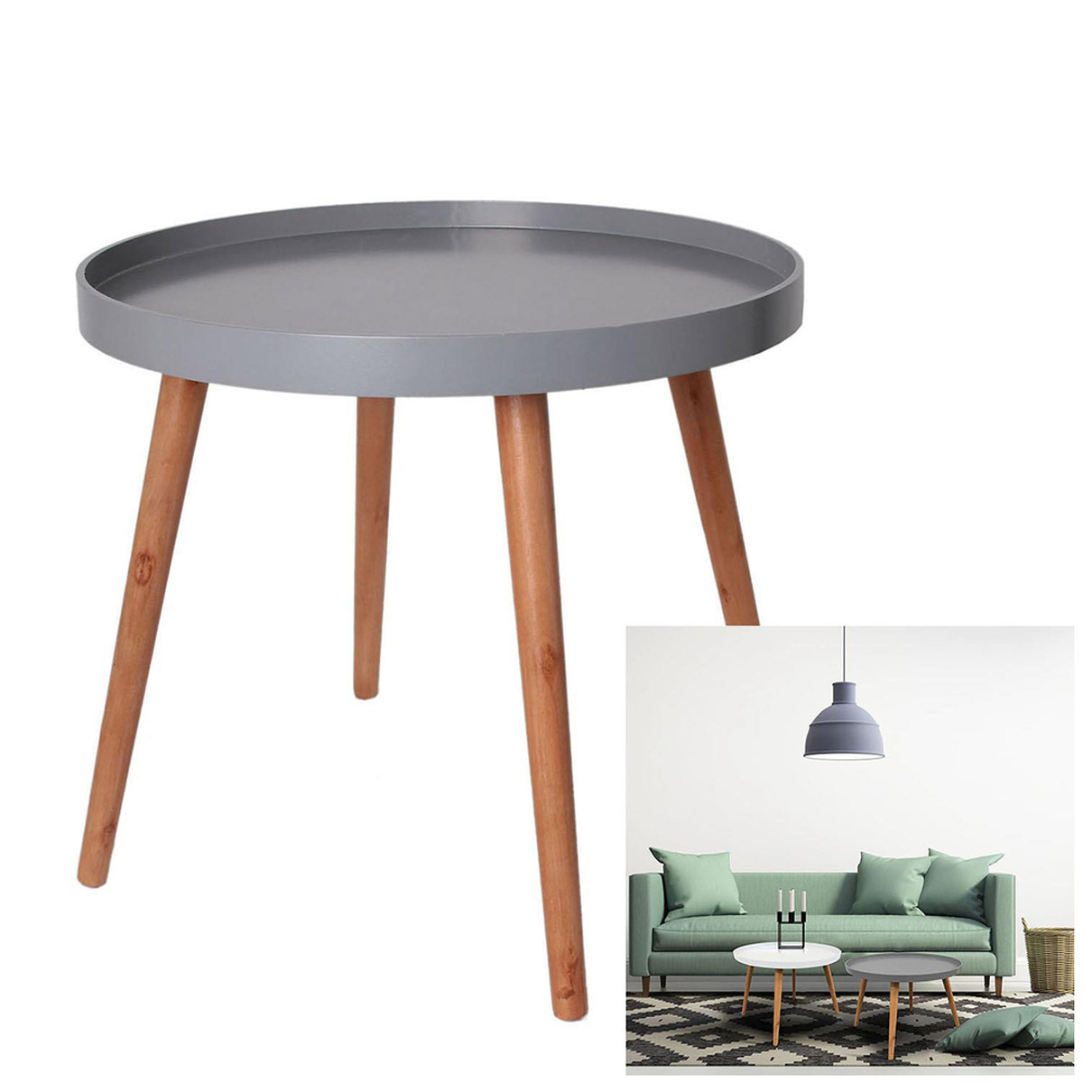 Table ronde bois \'Boho\' gris - 50x44 cm - [R2395]