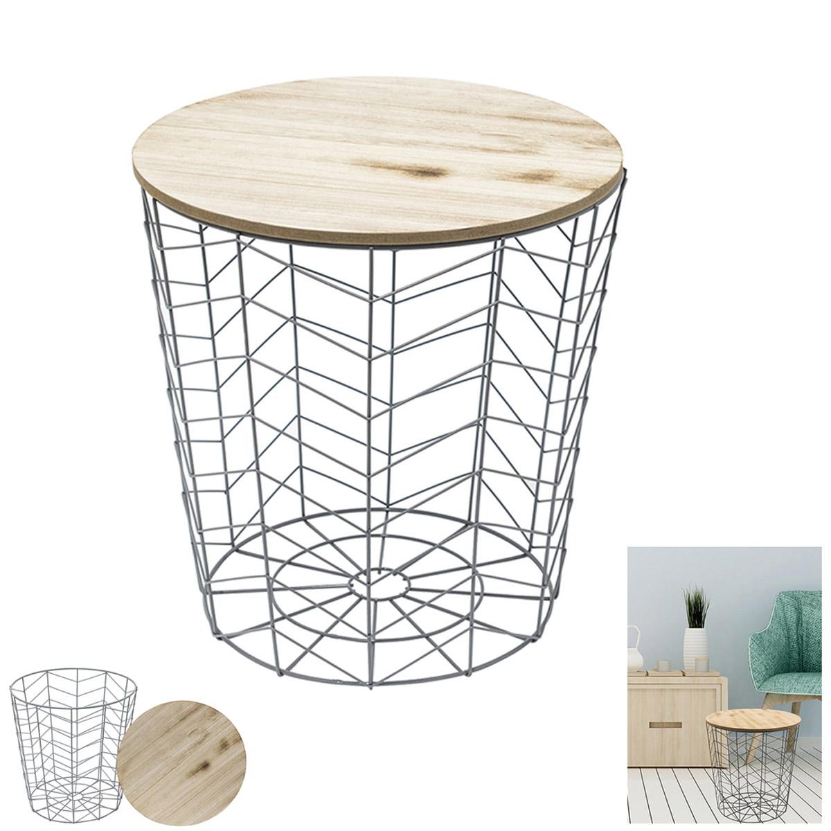 Table filaire bois métal \'Boho\' gris beige - 40x385 cm - [R2401]