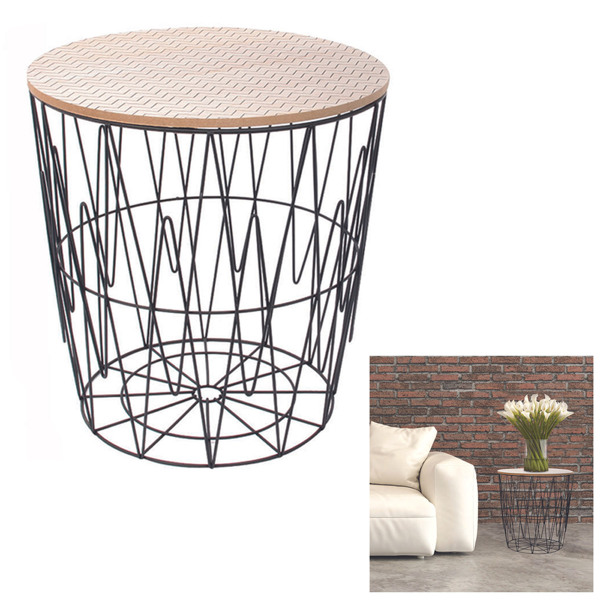 Table filaire bois métal \'Boho\' noir beige - 40x385 cm - [R2402]