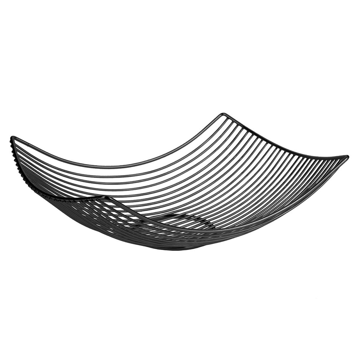 Corbeille filaire métal \'Boho\' noir - 31x23x10 cm - [R2431]
