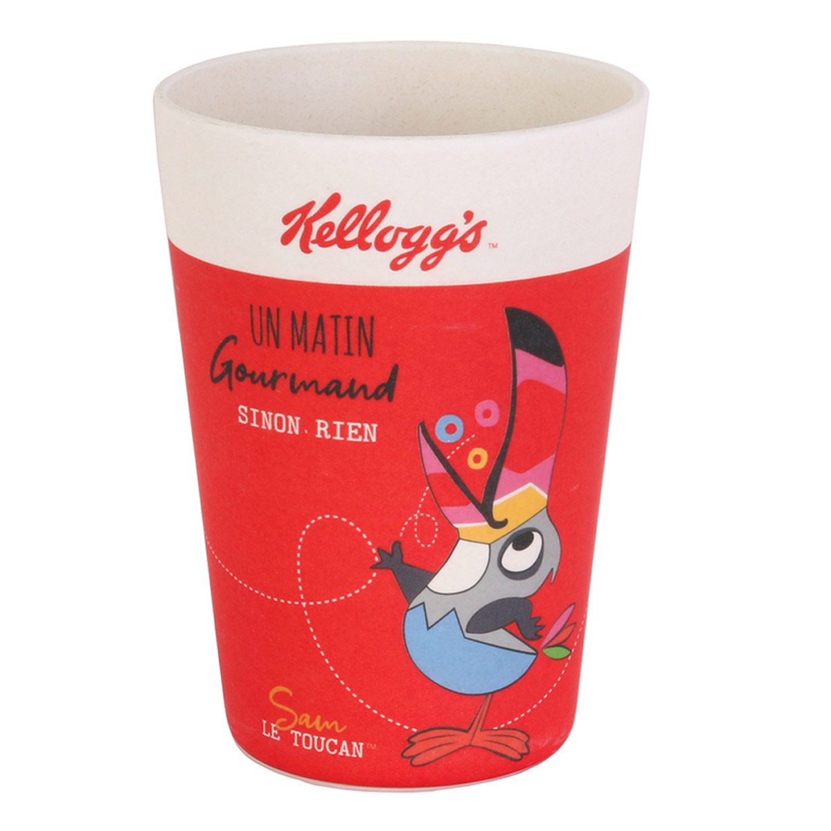 Gobelet verre bambou \'Kellogg\'s\' rouge - 10x85 cm (30 cl) - [R2443]