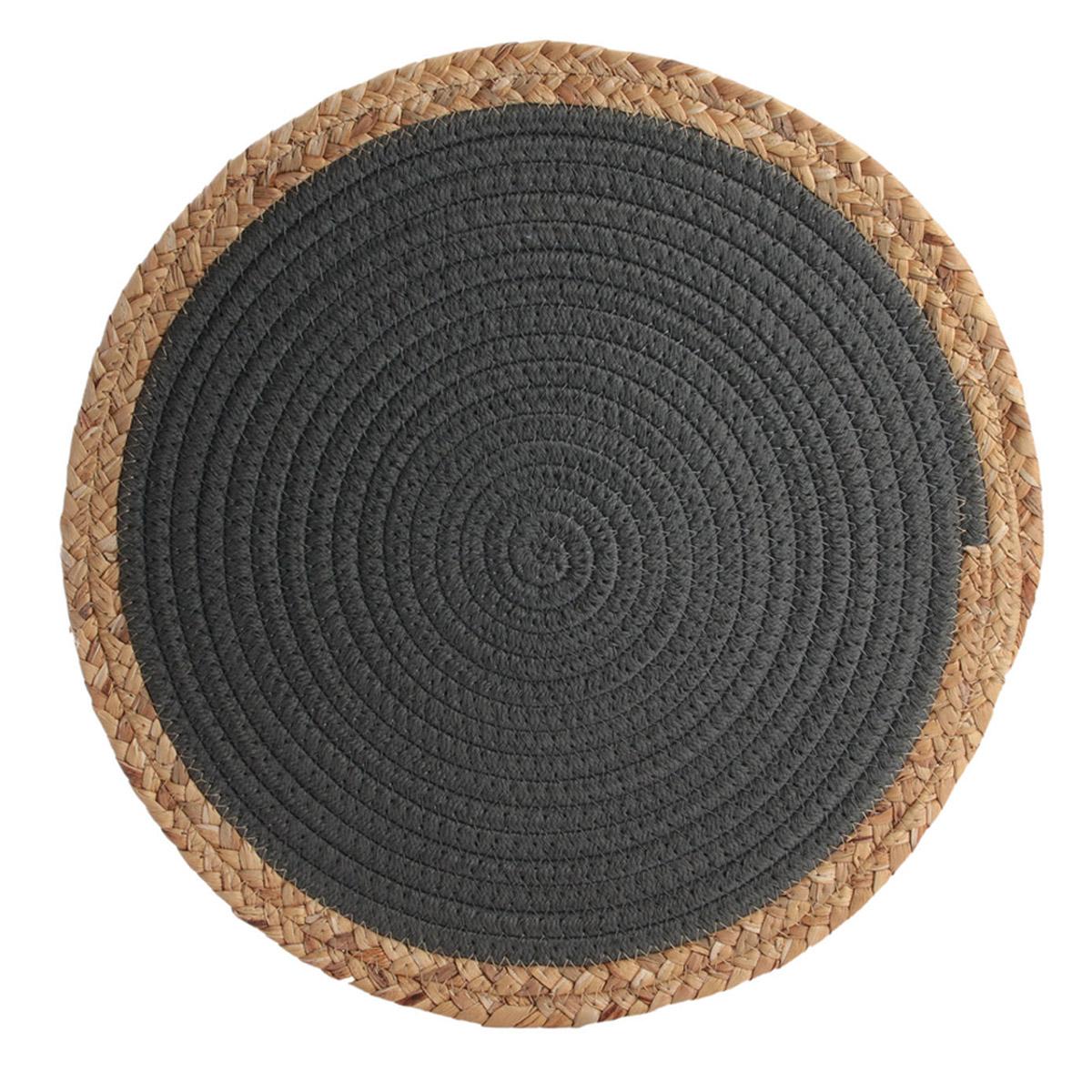 Set de table coton \'Boho\' gris beige - 38 cm - [R2509]