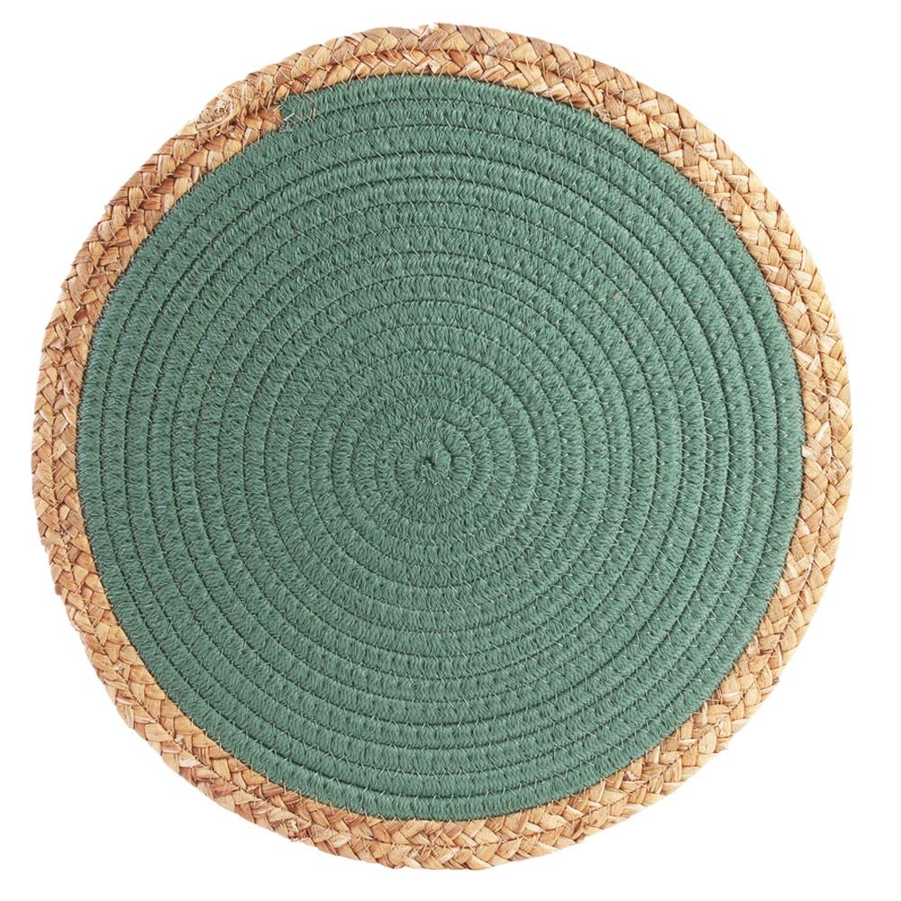 Set de table coton \'Boho\' vert beige - 38 cm - [R2510]