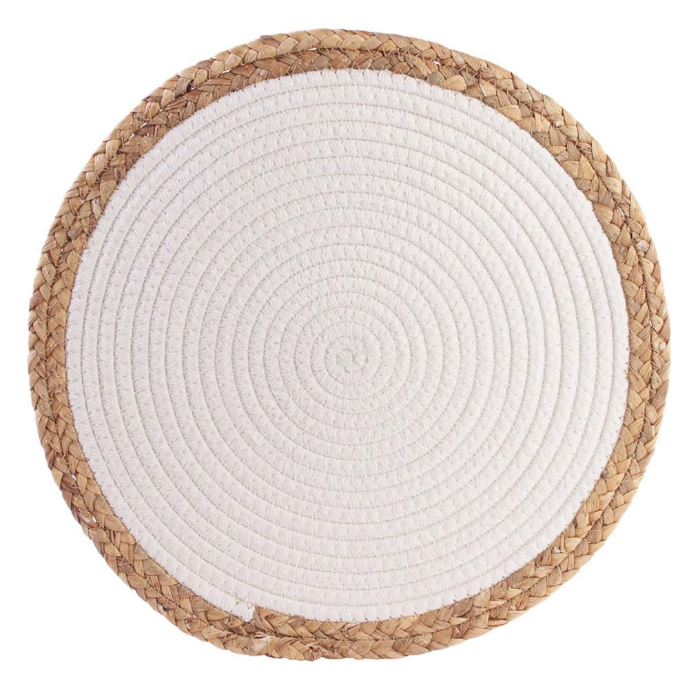 Set de table coton \'Boho\' blanc beige - 38 cm - [R2511]
