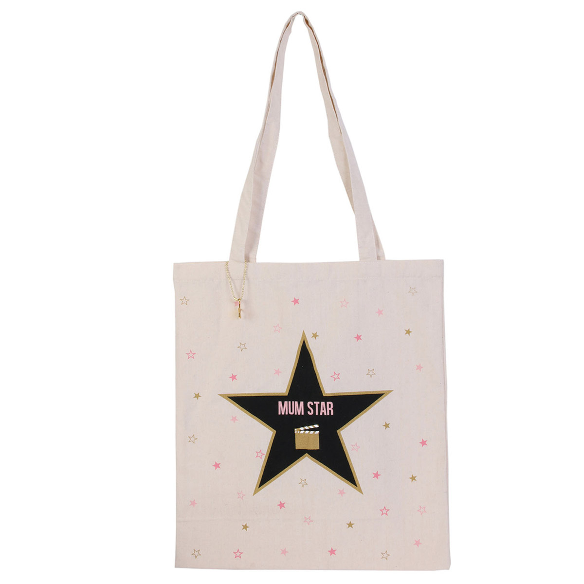 Tote bag \'Maman\' beige (mum star) -  42x36 cm - [R2525]