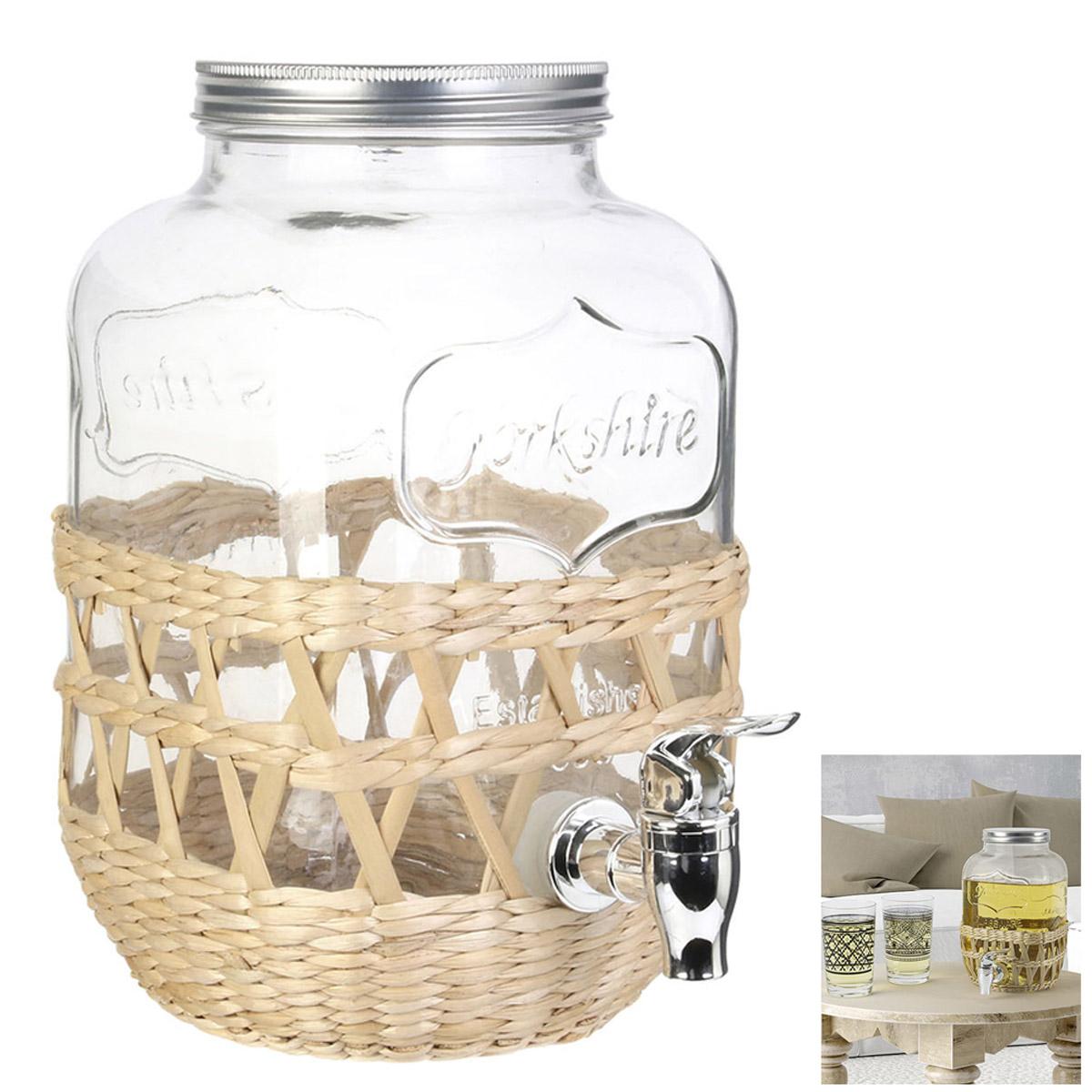 Fontaine mason jar verre \'Boho\' beige (cannage) - 26x23x16 cm (4 L) - [R2532]