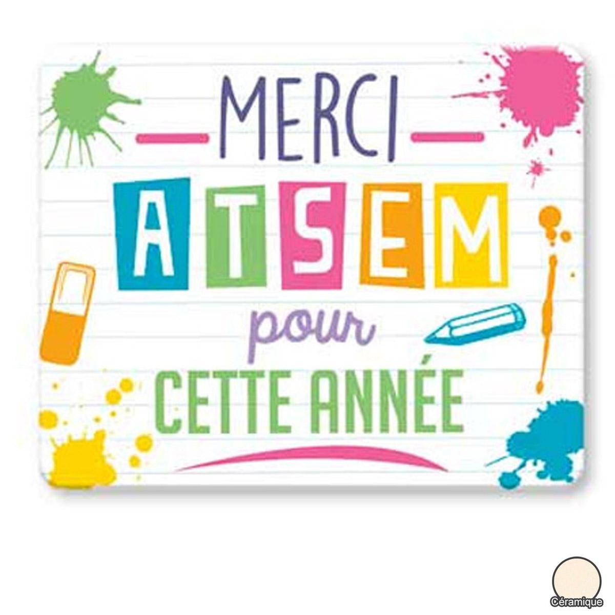 Magnet céramique \'Messages\' multicolore (Merci Atsem pour cette année) - 8x6 cm - [R2537]