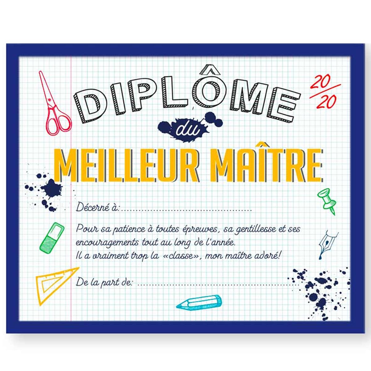 Cadre \'Diplôme du Meilleur Maître\' jaune bleu- 25x20x15 cm - [R2632]
