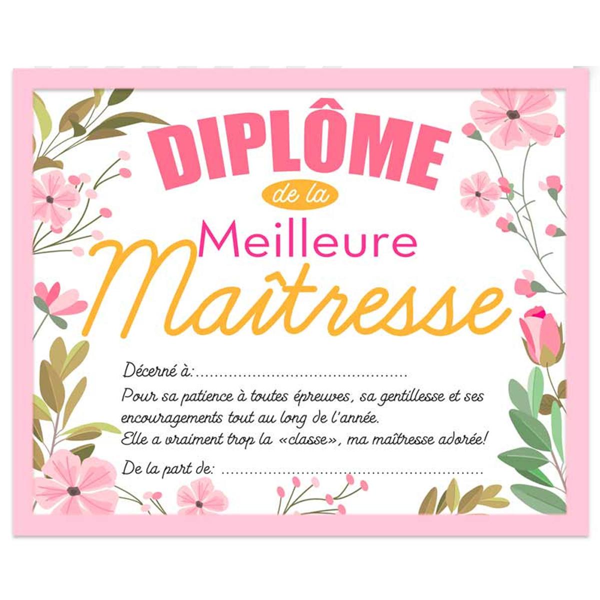 Cadre \'Diplôme de la Meilleure Maîtresse\' rose - 25x20x15 cm - [R2634]