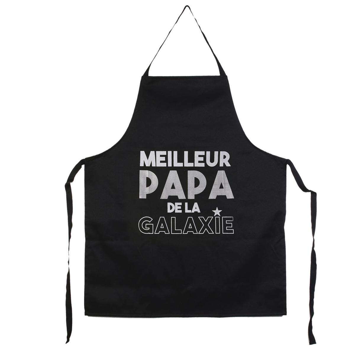 Tablier humoristique \'Papa\' noir (Meilleur Papa de la galaxie) - 67x85 cm - [R2887]