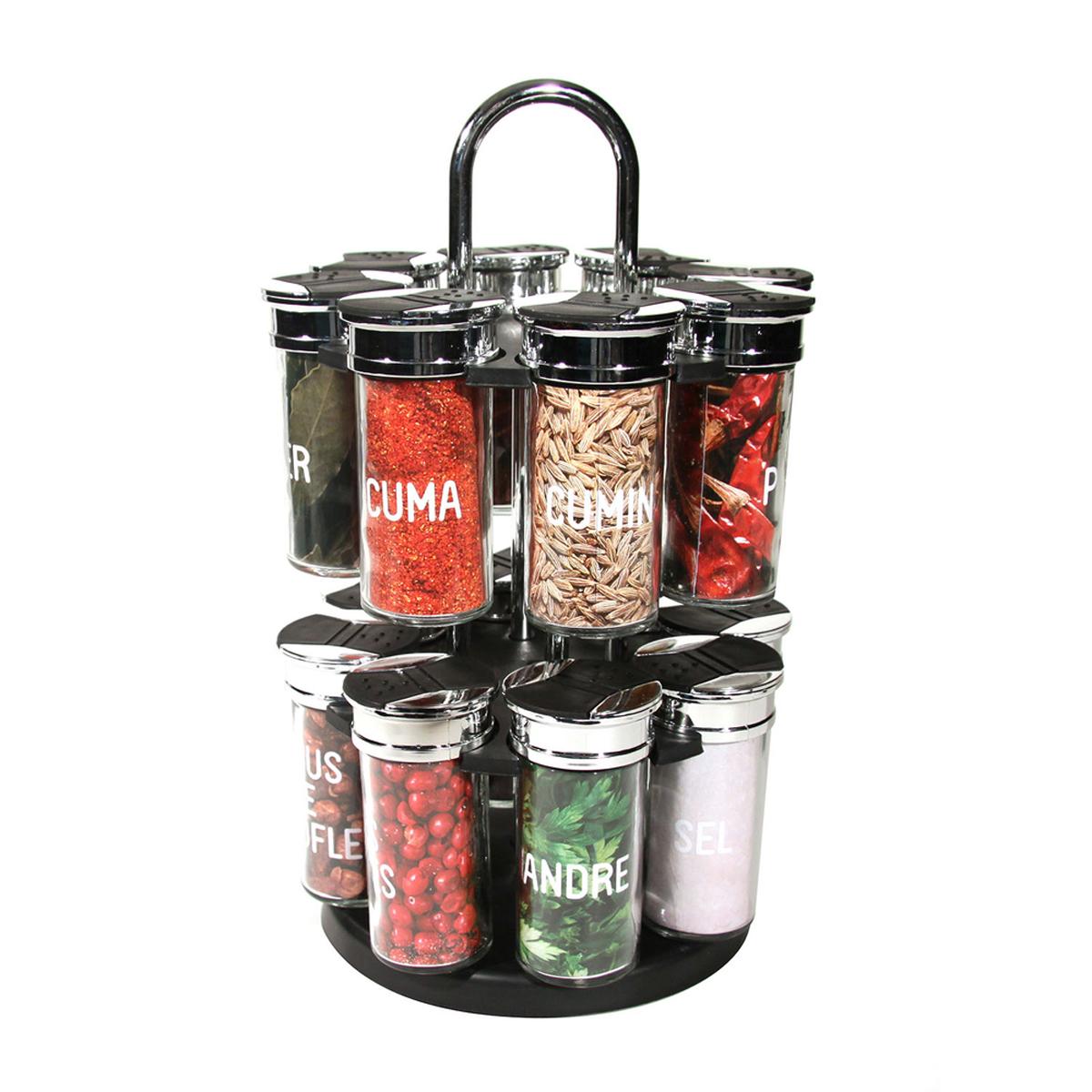 Carrousel à épices \'Epices\' 16 pots (plastique) - 315x19x19 cm - [R2898]