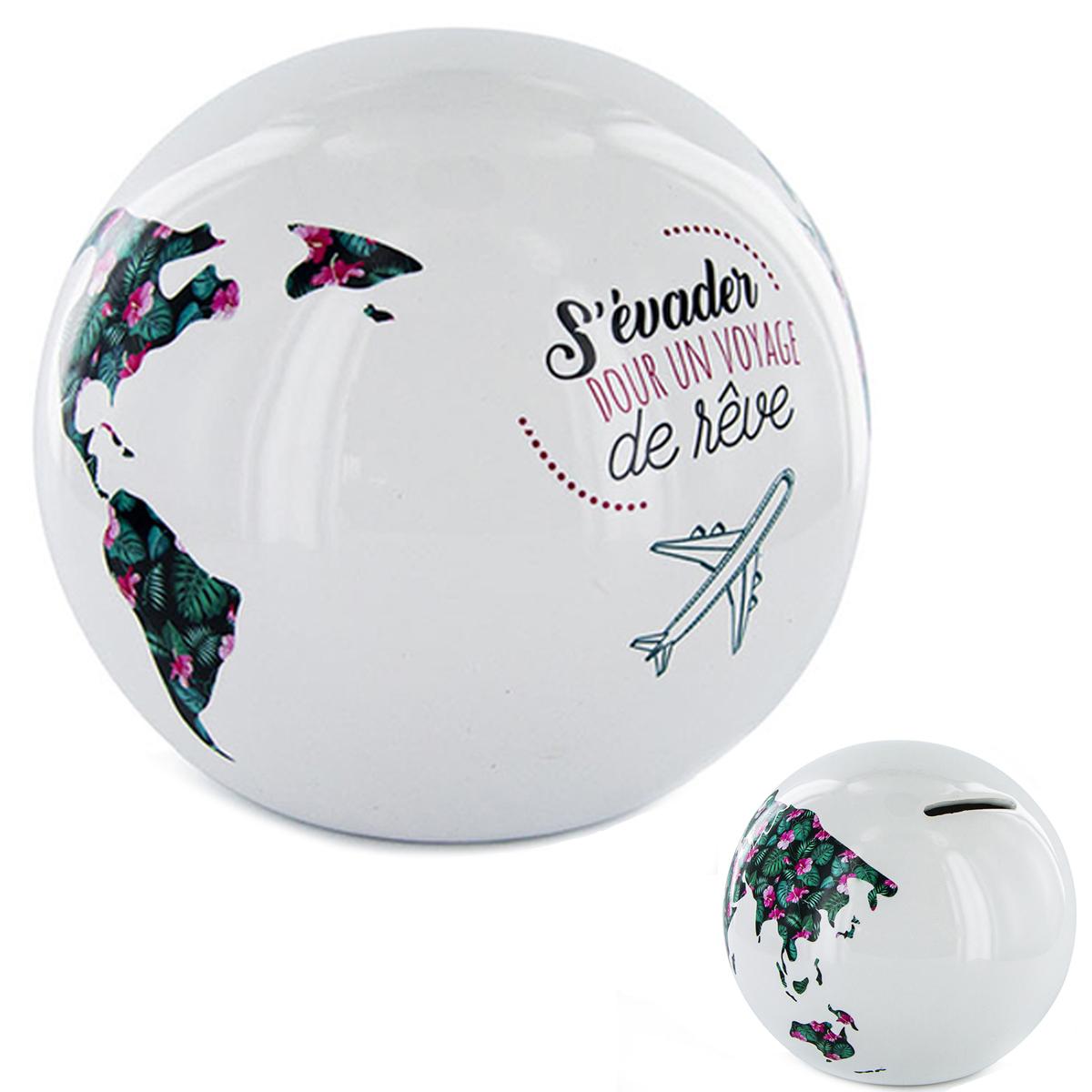 Tirelire céramique \'Globe\' blanc (s\'évader pour un voyage de rêve) - 115x9 cm - [R2904]