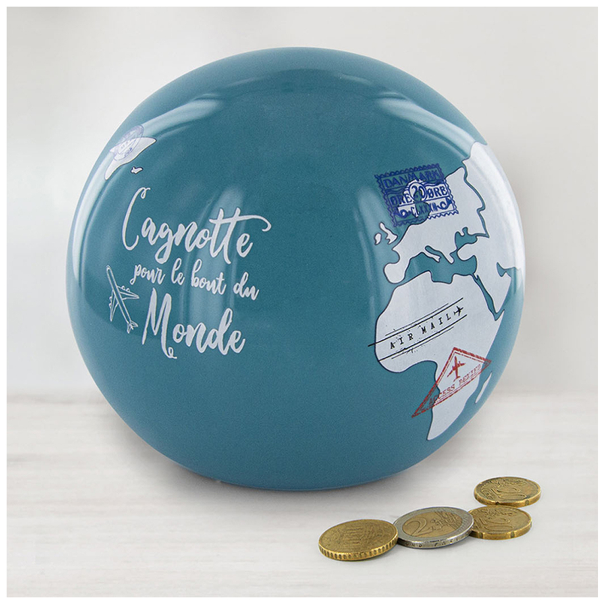 Tirelire céramique \'Globe\' bleu (Cagnotte pour le tout du Monde) - 115x9 cm - [R2905]