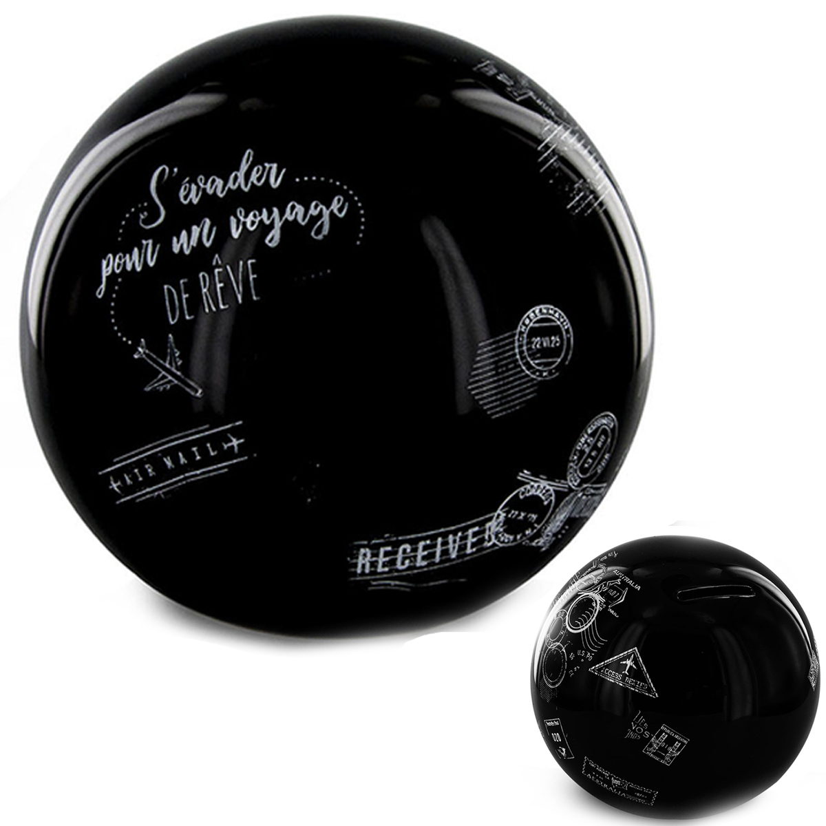 Tirelire céramique \'Globe\' noir (s\'évader pour un voyage de rêve) - 115x9 cm - [R2906]