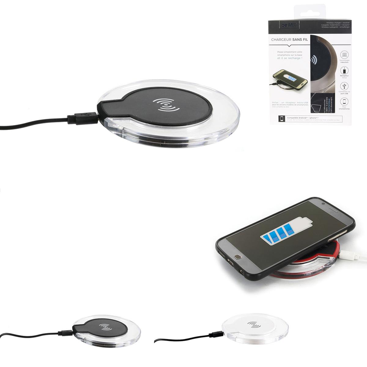 Chargeur à induction sans fil \'Design\' noir - 10 cm - [R2909]